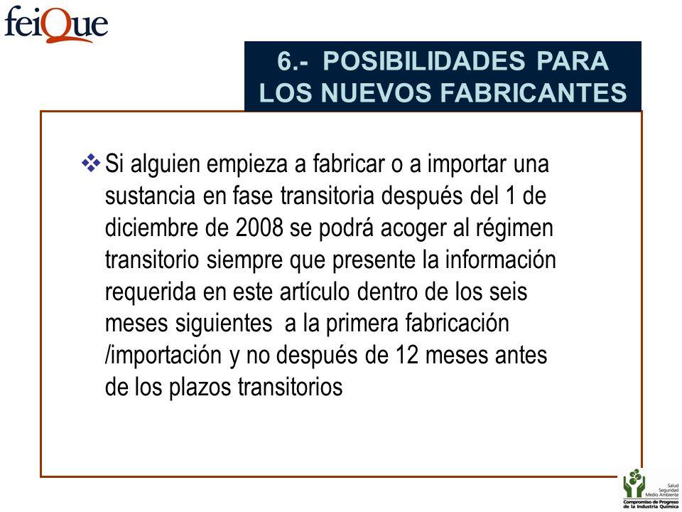6.- POSIBILIDADES PARA LOS NUEVOS FABRICANTES