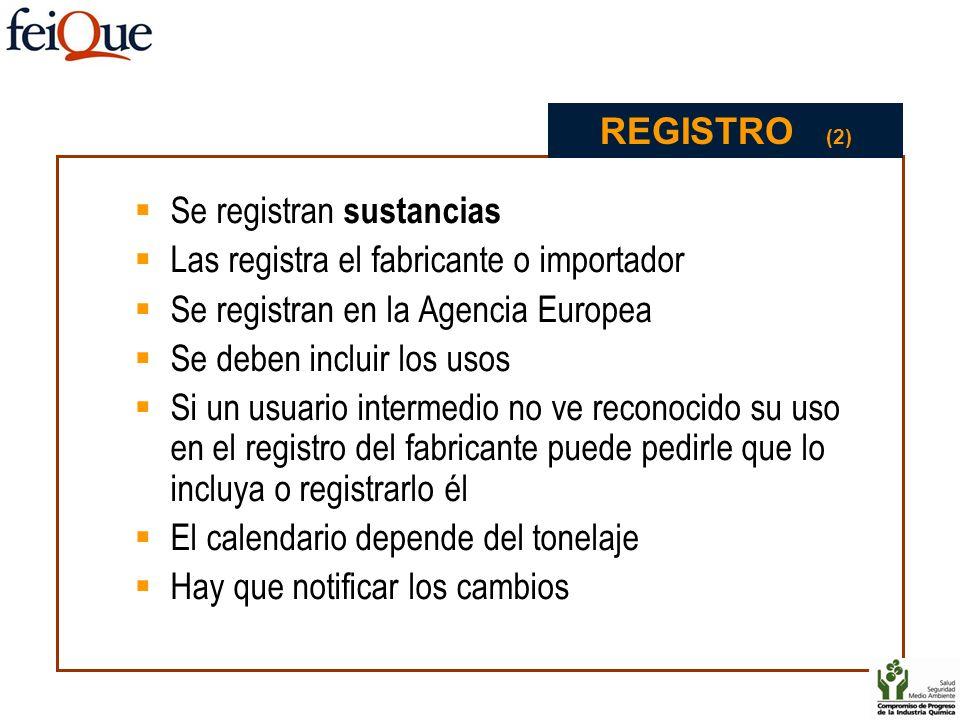 REGISTRO (2) Se registran sustancias. Las registra el fabricante o importador. Se registran en la Agencia Europea.