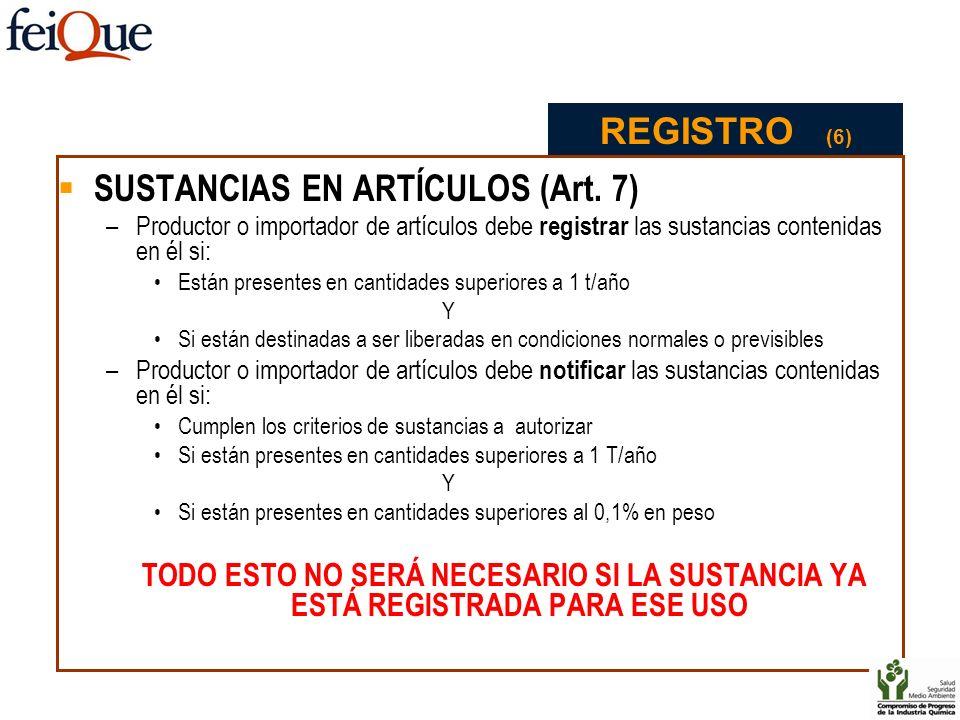 SUSTANCIAS EN ARTÍCULOS (Art. 7)