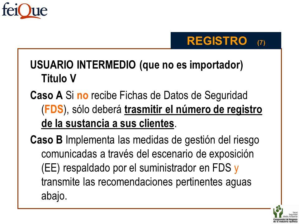 REGISTRO (7) USUARIO INTERMEDIO (que no es importador) Titulo V.