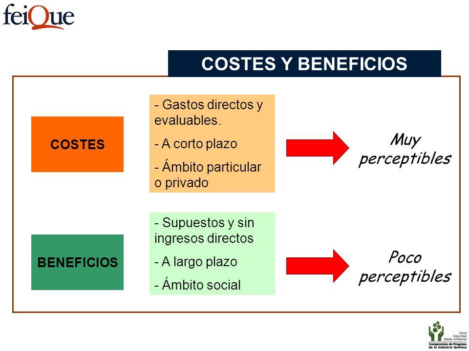 COSTES Y BENEFICIOS Muy perceptibles Poco perceptibles