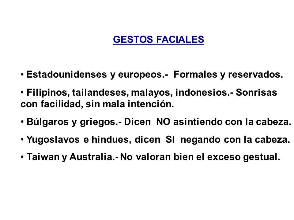GESTOS FACIALES Estadounidenses y europeos.- Formales y reservados.