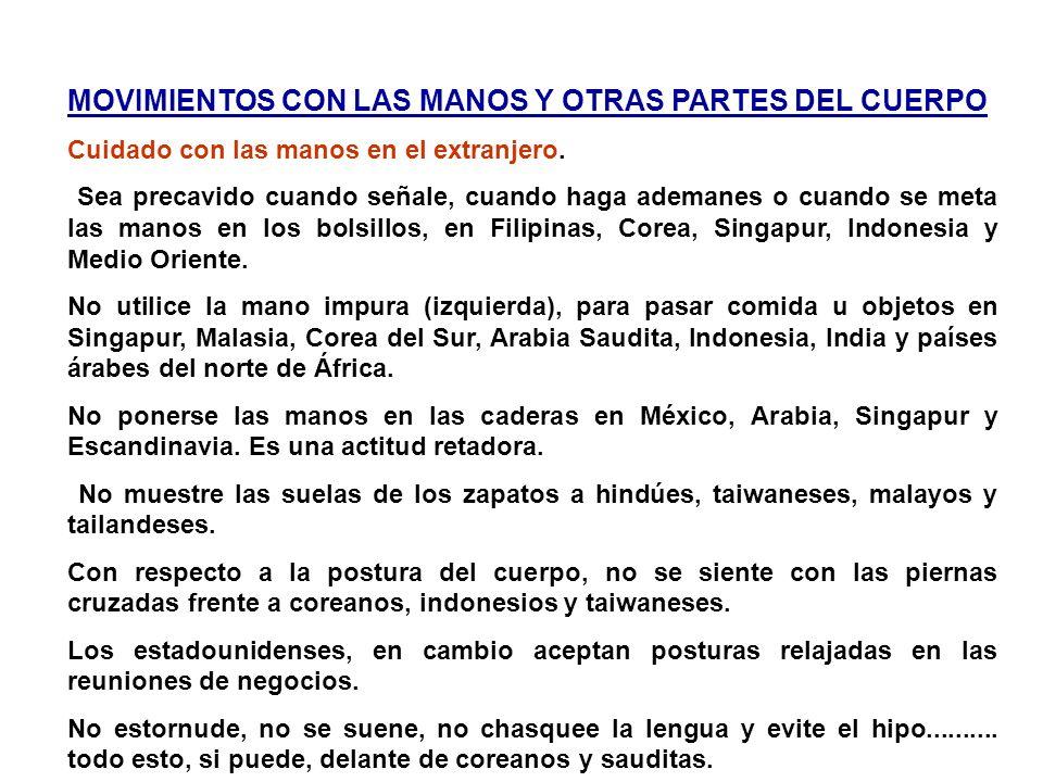 MOVIMIENTOS CON LAS MANOS Y OTRAS PARTES DEL CUERPO