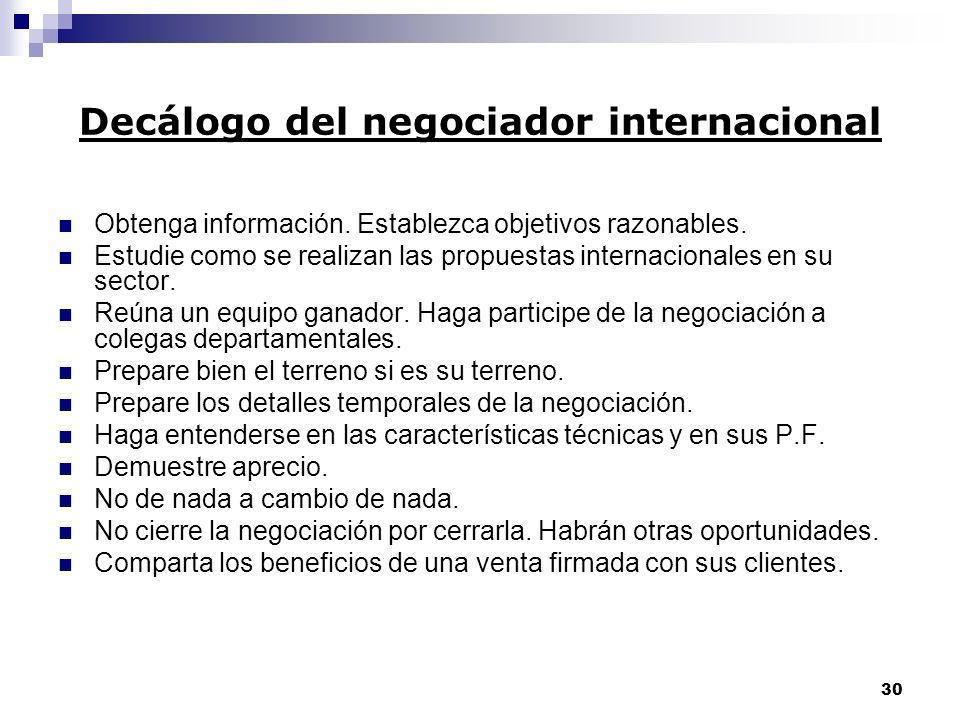 Decálogo del negociador internacional
