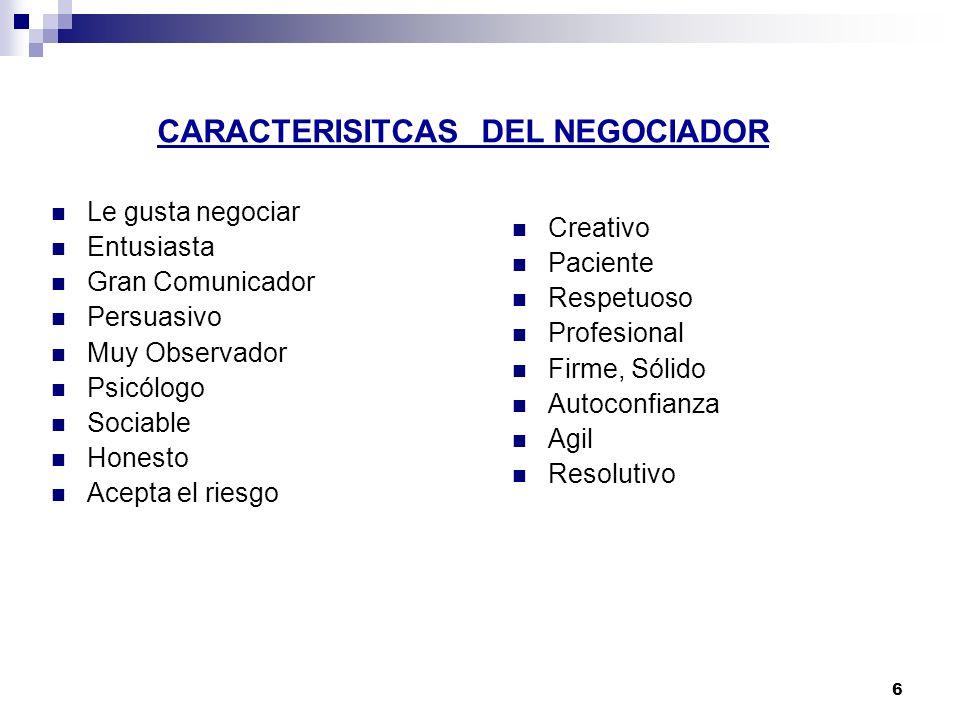 CARACTERISITCAS DEL NEGOCIADOR