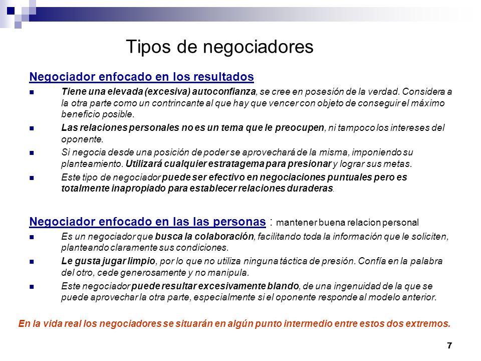 Tipos de negociadores Negociador enfocado en los resultados
