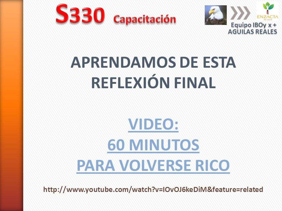 S330 Capacitación APRENDAMOS DE ESTA REFLEXIÓN FINAL VIDEO: 60 MINUTOS