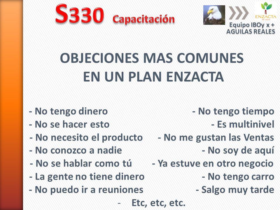 S330 Capacitación OBJECIONES MAS COMUNES EN UN PLAN ENZACTA