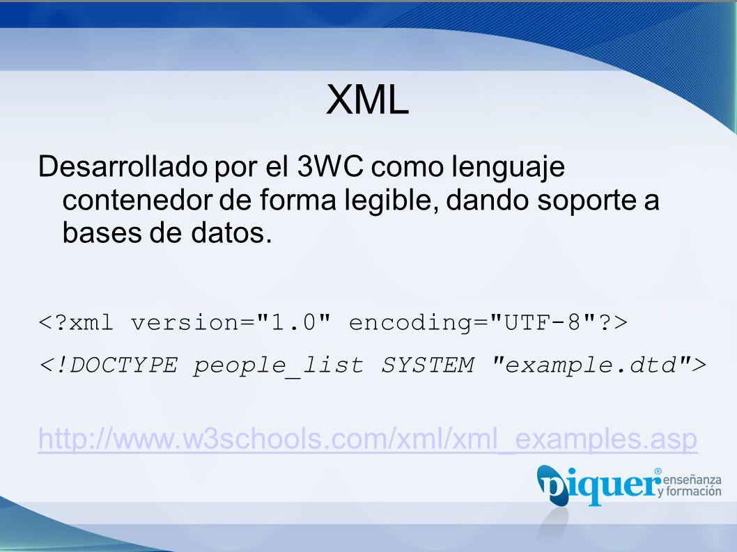 XML Desarrollado por el 3WC como lenguaje contenedor de forma legible, dando soporte a bases de datos.