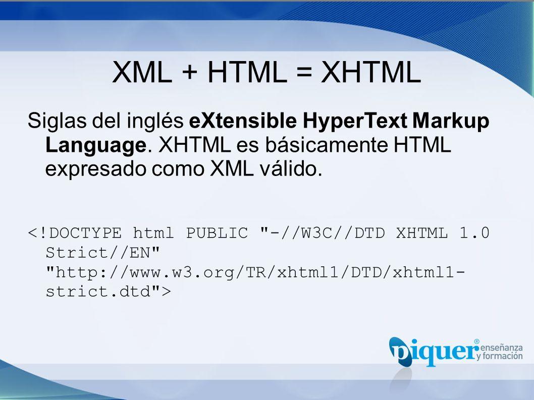 XML + HTML = XHTML Siglas del inglés eXtensible HyperText Markup Language. XHTML es básicamente HTML expresado como XML válido.