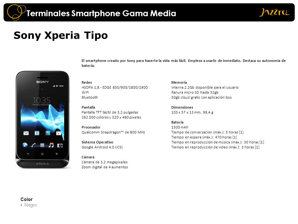 Sony Xperia Tipo Terminales Smartphone Gama Media Color Negro