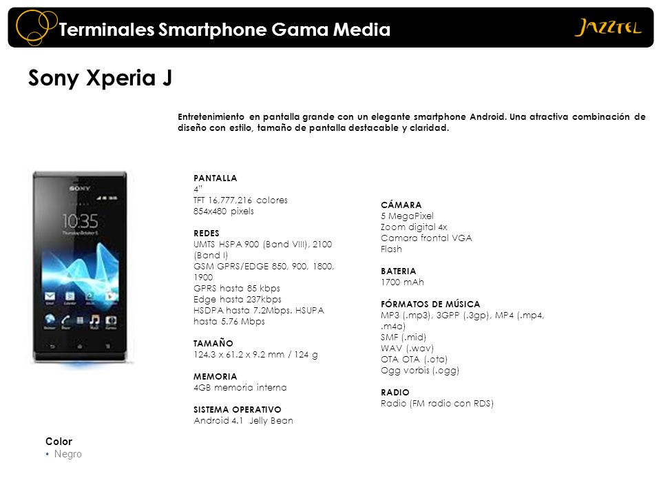 Sony Xperia J Terminales Smartphone Gama Media Color Negro
