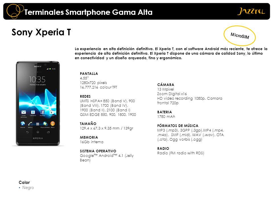 Sony Xperia T Terminales Smartphone Gama Alta MicroSIM Color Negro