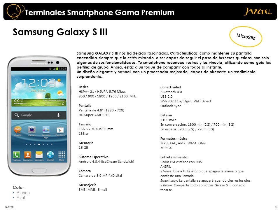 Samsung Galaxy S III Terminales Smartphone Gama Premium MicroSIM Color