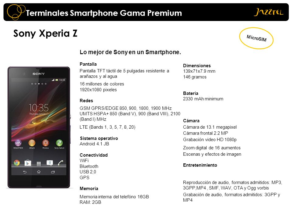 Sony Xperia Z Terminales Smartphone Gama Premium