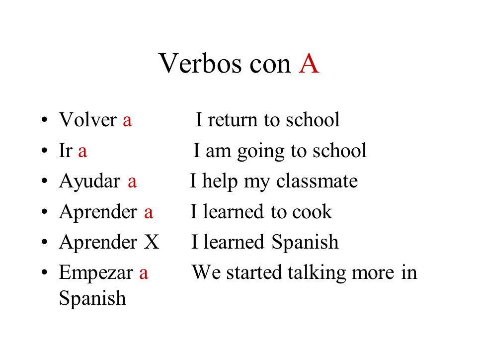 Verbos con A Volver a I return to school Ir a I am going to school