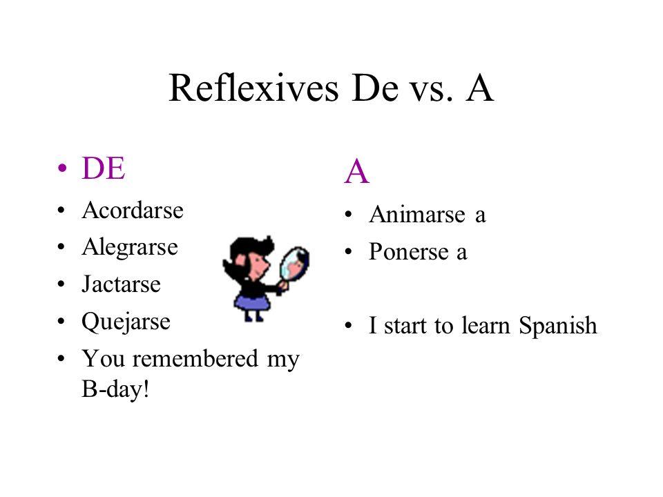 Reflexives De vs. A A DE Acordarse Animarse a Alegrarse Ponerse a