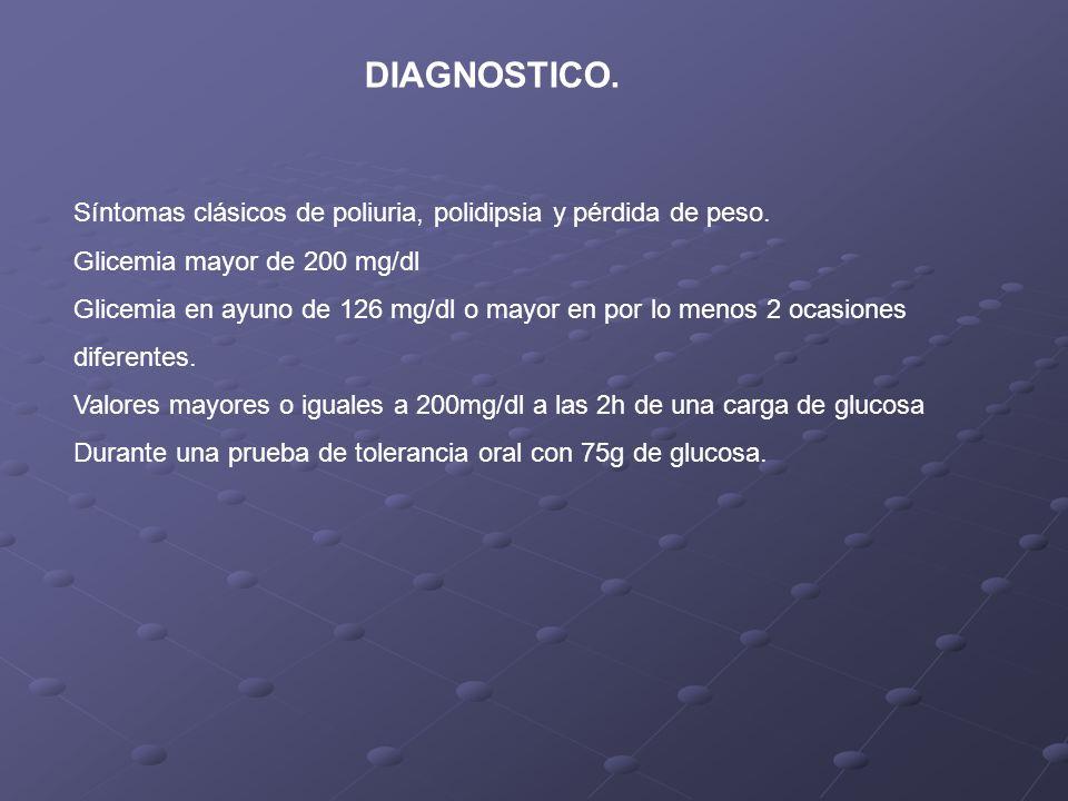 DIAGNOSTICO. Síntomas clásicos de poliuria, polidipsia y pérdida de peso. Glicemia mayor de 200 mg/dl.