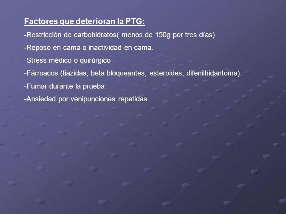 Factores que deterioran la PTG: