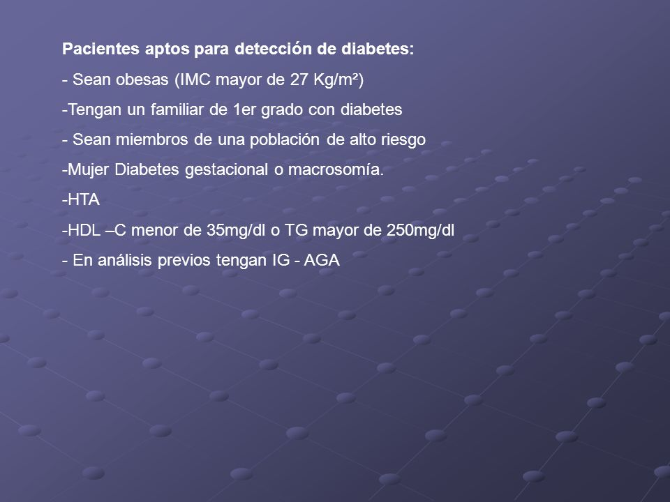 Pacientes aptos para detección de diabetes: