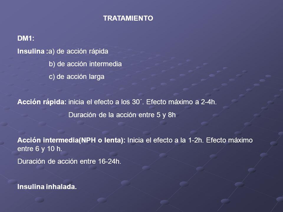 TRATAMIENTO DM1: Insulina :a) de acción rápida. b) de acción intermedia. c) de acción larga.