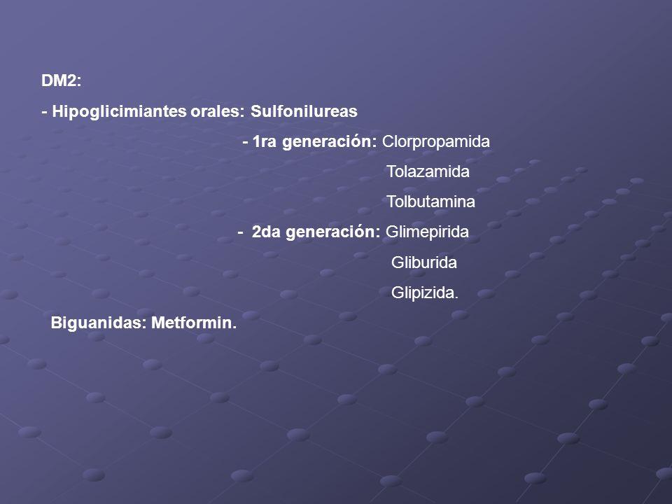 DM2: - Hipoglicimiantes orales: Sulfonilureas. - 1ra generación: Clorpropamida. Tolazamida. Tolbutamina.