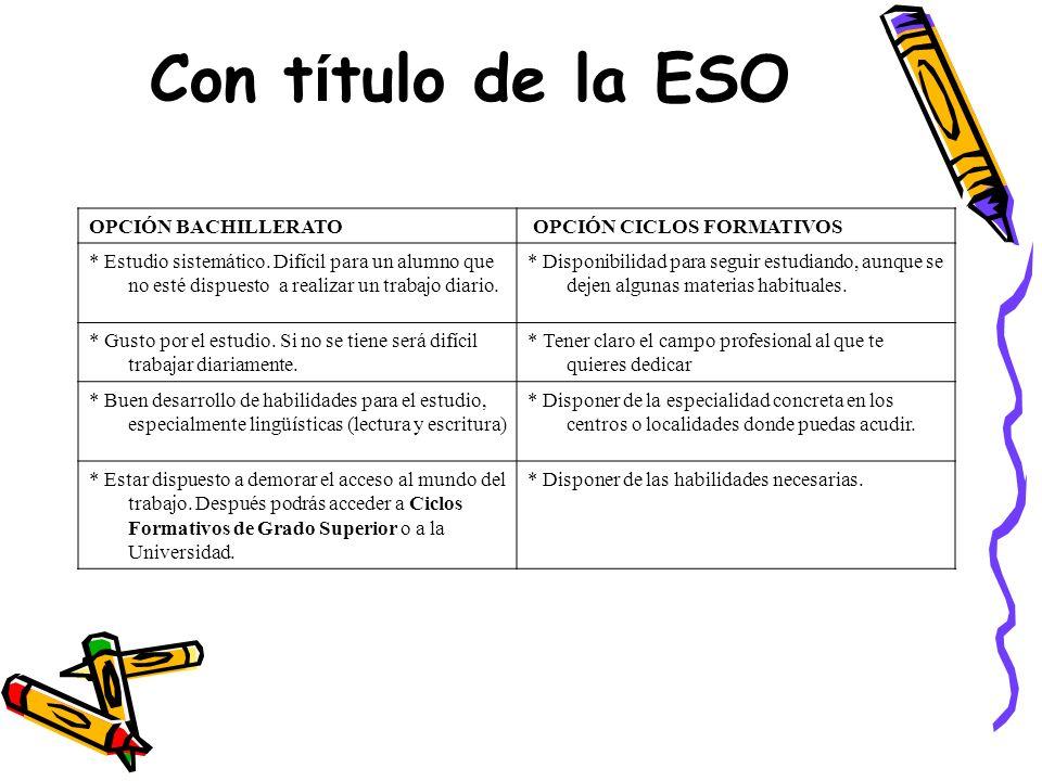 Con título de la ESO OPCIÓN BACHILLERATO OPCIÓN CICLOS FORMATIVOS
