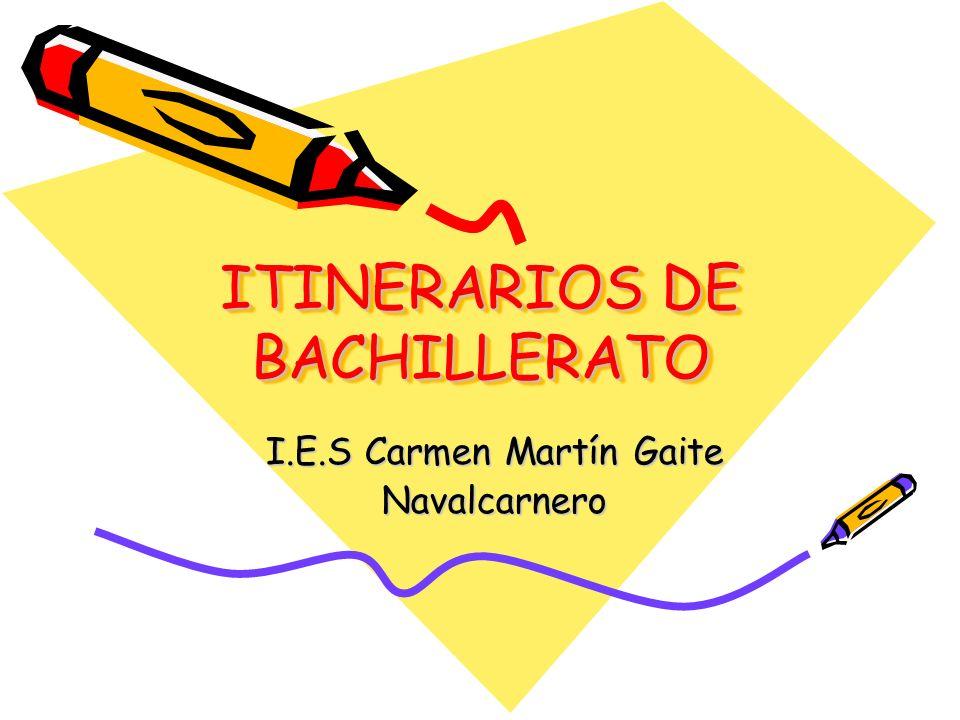 ITINERARIOS DE BACHILLERATO