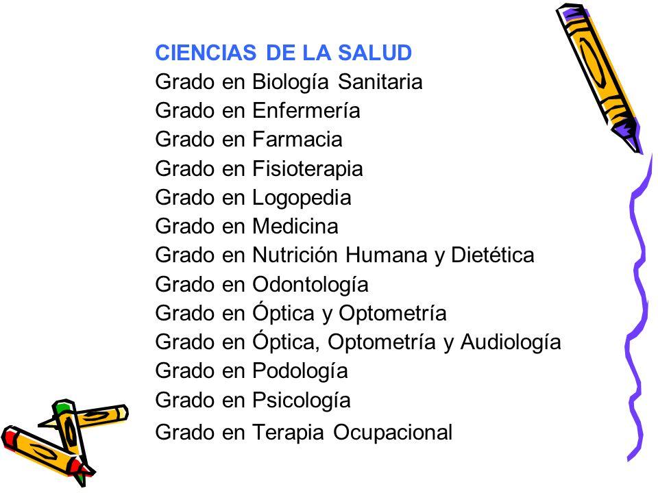 CIENCIAS DE LA SALUD Grado en Biología Sanitaria. Grado en Enfermería. Grado en Farmacia. Grado en Fisioterapia.