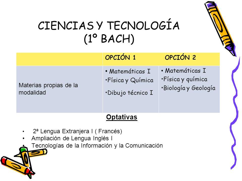 CIENCIAS Y TECNOLOGÍA (1º BACH)
