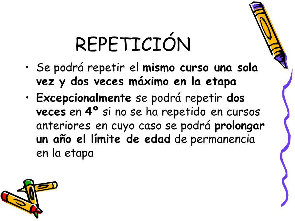 REPETICIÓN Se podrá repetir el mismo curso una sola vez y dos veces máximo en la etapa.