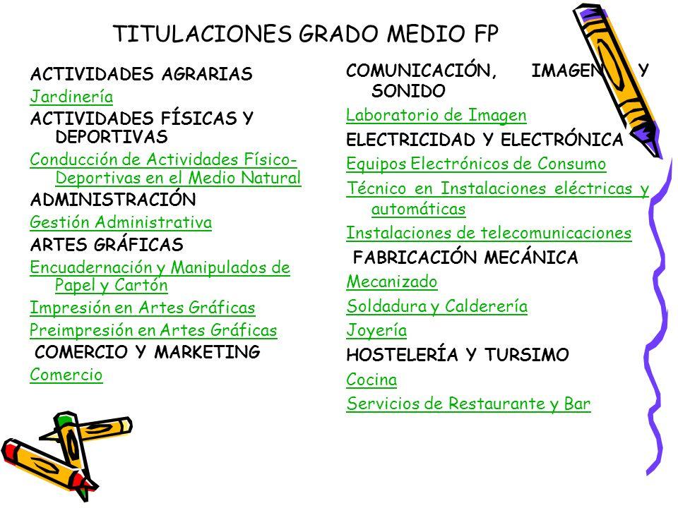 TITULACIONES GRADO MEDIO FP