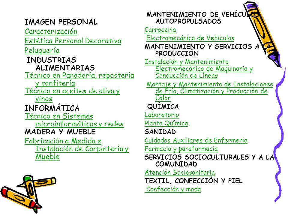 Estética Personal Decorativa Peluquería INDUSTRIAS ALIMENTARIAS