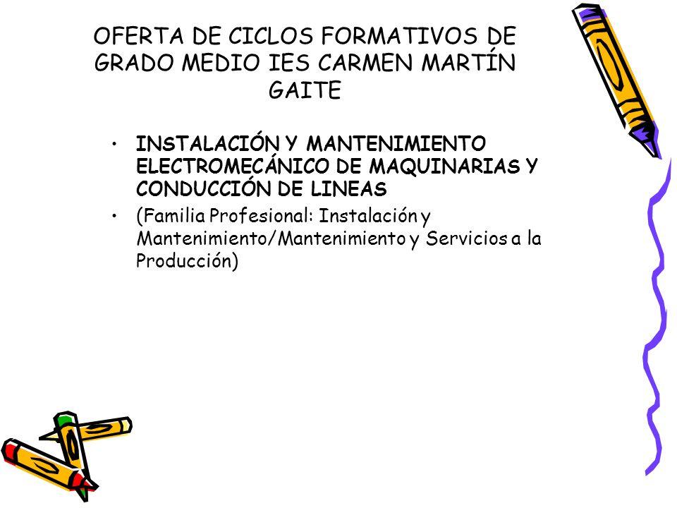 OFERTA DE CICLOS FORMATIVOS DE GRADO MEDIO IES CARMEN MARTÍN GAITE