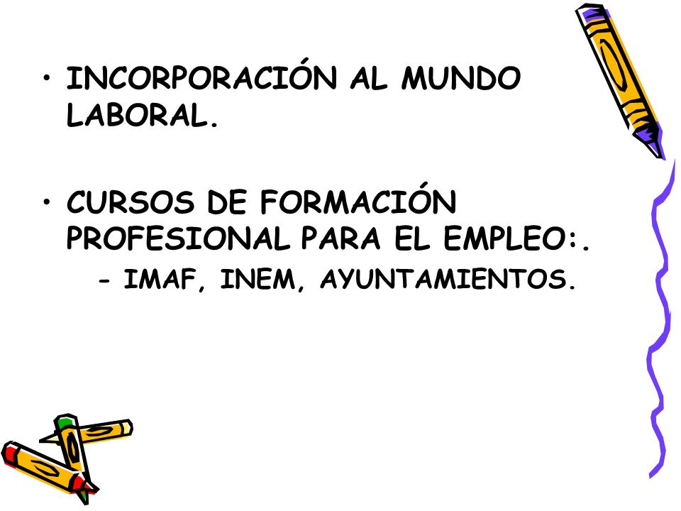 INCORPORACIÓN AL MUNDO LABORAL.