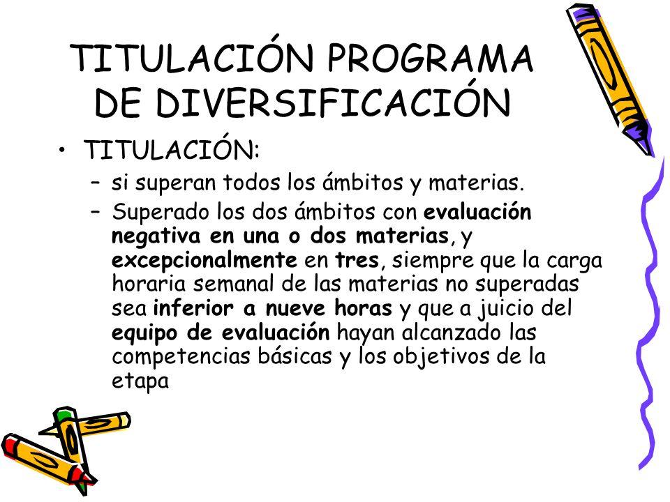 TITULACIÓN PROGRAMA DE DIVERSIFICACIÓN