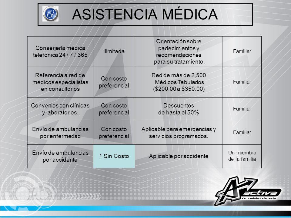ASISTENCIA MÉDICA Conserjería médica telefónica 24 / 7 / 365 Ilimitada