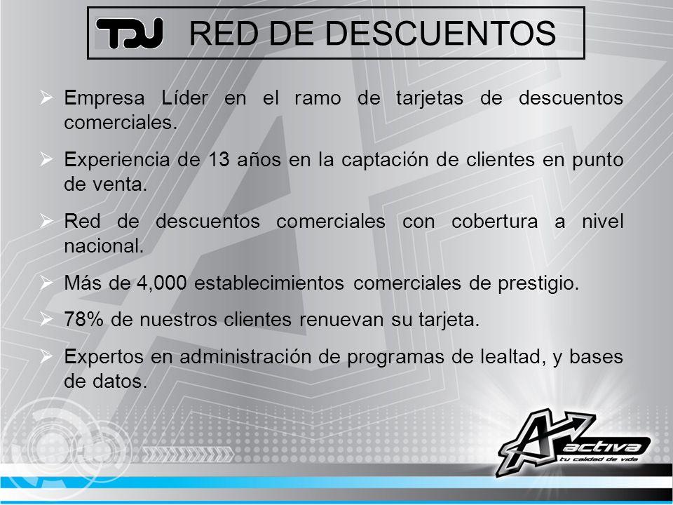 RED DE DESCUENTOS Empresa Líder en el ramo de tarjetas de descuentos comerciales.