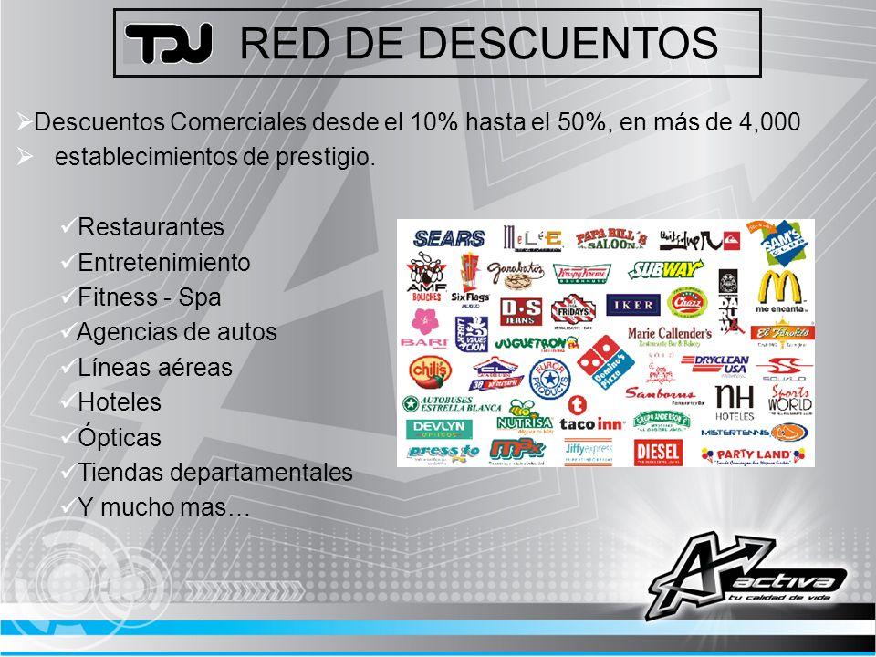 RED DE DESCUENTOS Descuentos Comerciales desde el 10% hasta el 50%, en más de 4,000. establecimientos de prestigio.