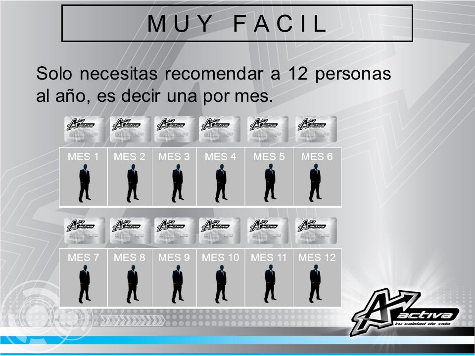 M U Y F A C I LSolo necesitas recomendar a 12 personas al año, es decir una por mes. MES 1. MES 2.