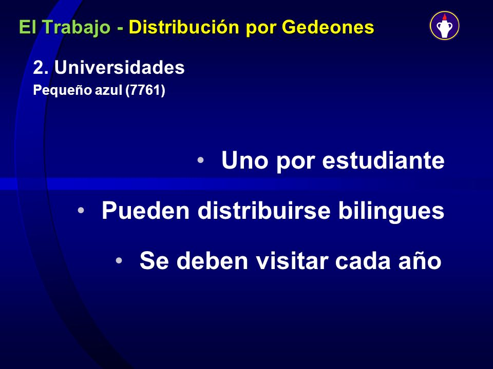 El Trabajo - Distribución por Gedeones