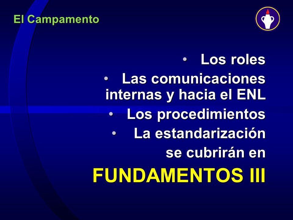 FUNDAMENTOS III Los roles Las comunicaciones internas y hacia el ENL