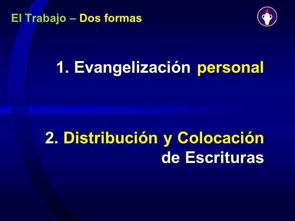 1. Evangelización personal 2. Distribución y Colocación de Escrituras