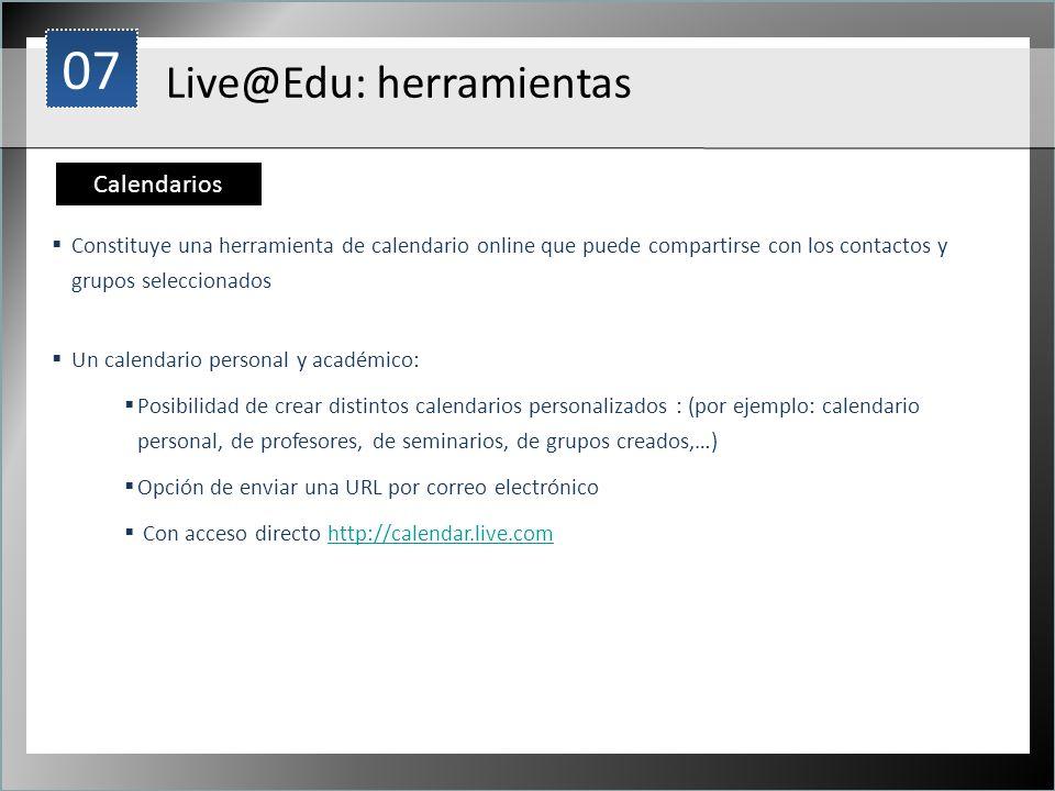 07 Live@Edu: herramientas Calendarios 1