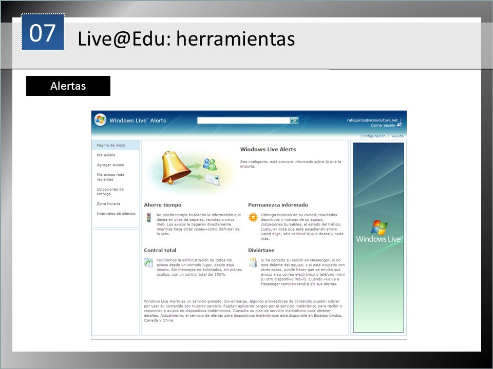 07 1 Live@Edu: herramientas Alertas