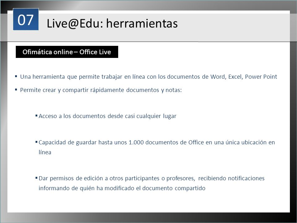 Ofimática online – Office Live
