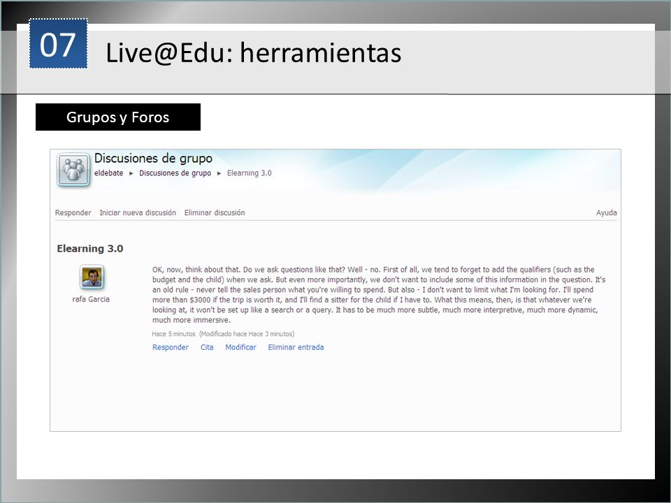 07 1 Live@Edu: herramientas Grupos y Foros