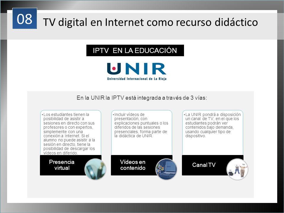En la UNIR la IPTV está integrada a través de 3 vías: