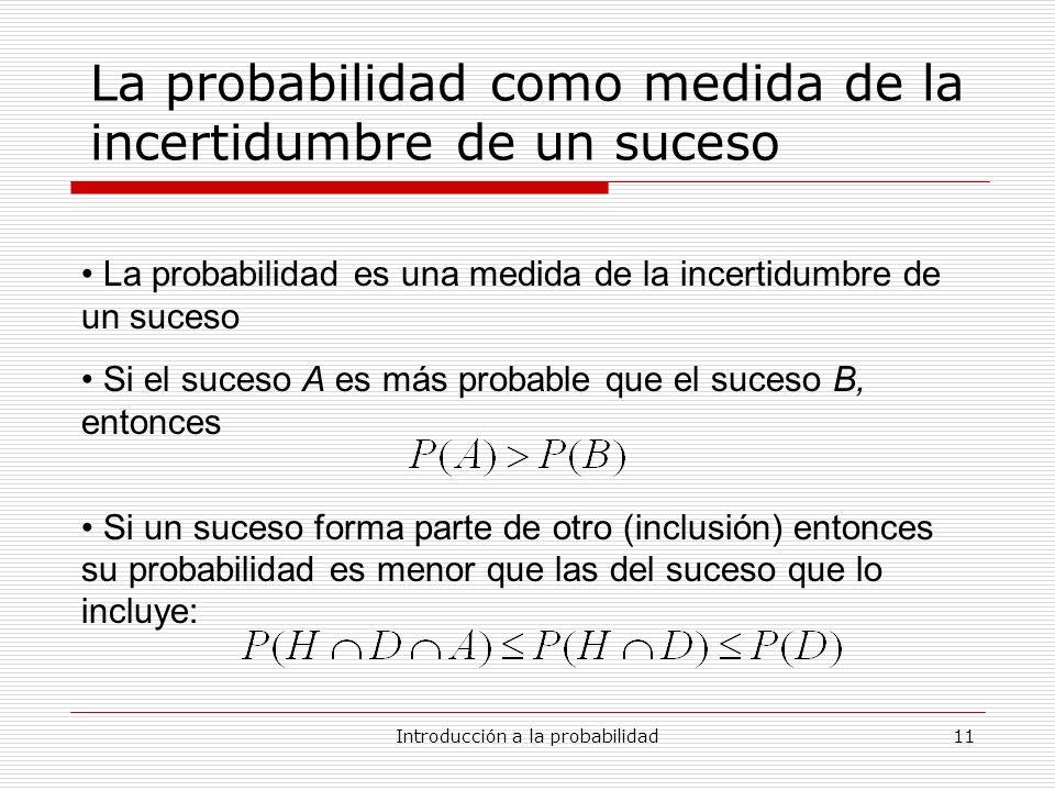 La probabilidad como medida de la incertidumbre de un suceso