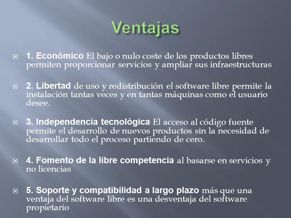 Ventajas 1. Económico El bajo o nulo coste de los productos libres permiten proporcionar servicios y ampliar sus infraestructuras.